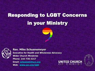 Responding to LGBT Concerns in your Ministry
