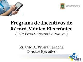 Programa  de  Incentivos  de  R � cord M � dico Electr � nico (EHR Provider Incentive Program)