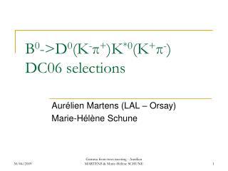 B 0 ->D 0 (K - π + )K *0 (K + π - ) DC06 selections
