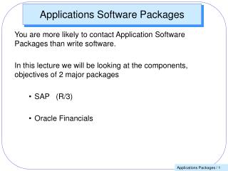 Applications Software Packages