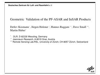 Geometric  Validation of the PF-ASAR and InSAR Products