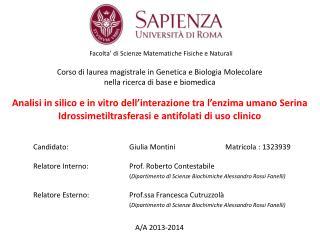 Candidato : Giulia  Montini Matricola  : 1323939 Relatore Interno :Prof. Roberto  Contestabile