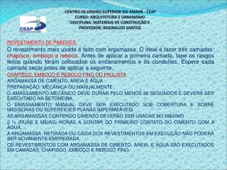 REVESTIMENTO DE PAREDES:
