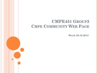 CMPE451 Group3 Cmpe Community  Web  Page