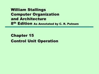 Chapter 15 Control Unit Operation