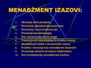 MENAD MENT IZAZOVI: