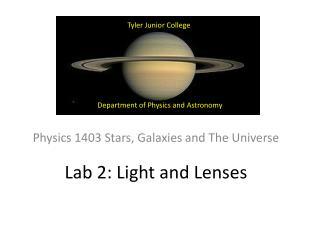 Lab 2: Light and Lenses