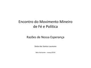 Encontro do Movimento Mineiro  de Fé e Política