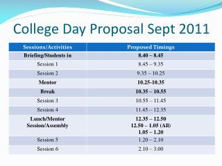 College Day Proposal Sept 2011