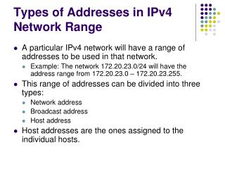 Types of Addresses in IPv4 Network Range