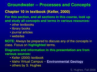 Groundwater -- Processes and Concepts