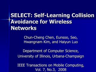 SELECT: Self-Learning Collision Avoidance for Wireless Networks