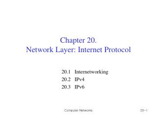Chapter 20. Network Layer: Internet Protocol