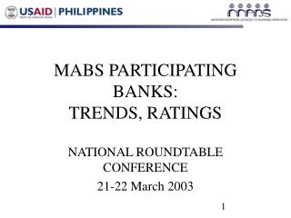 MABS PARTICIPATING BANKS:  TRENDS, RATINGS