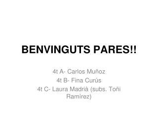 BENVINGUTS PARES!!