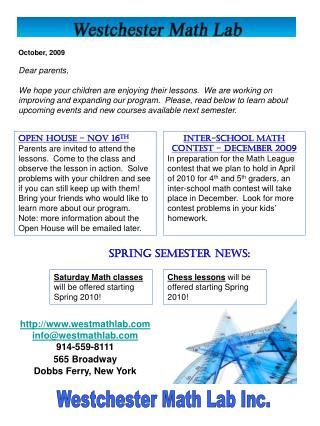 Spring Semester News: