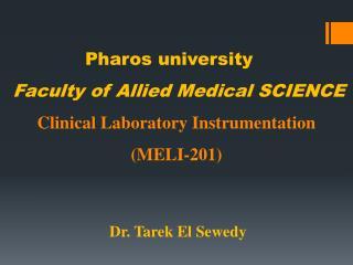 Dr. Tarek El Sewedy