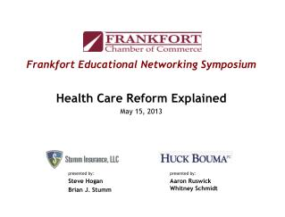 Frankfort Educational Networking Symposium Health Care Reform Explained May 15, 2013