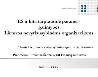 ES ir kita tarptautinė parama -  galimybės  Lietuvos nevyriausybinėms organizacijoms