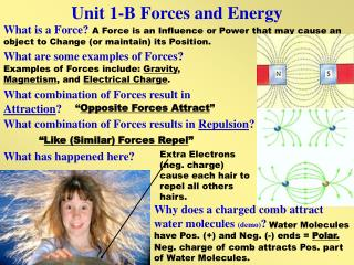 Unit 1-B Forces and Energy