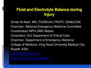 Fluid and Electrolyte Balance during Injury