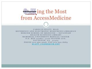 ing  the Most  from  AccessMedicine