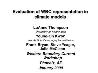 Evaluation of WBC representation in climate models