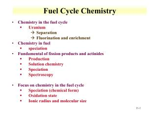 Fuel Cycle Chemistry