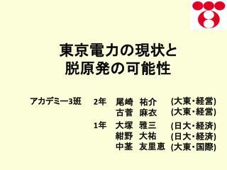 東京電力の現状と 脱原発の可能性