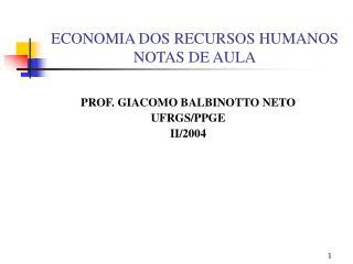 ECONOMIA DOS RECURSOS HUMANOS NOTAS DE AULA