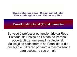 E-mail Institucional (Portal dia-a-dia)