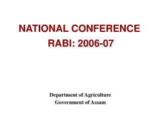 NATIONAL CONFERENCE   RABI: 2006-07