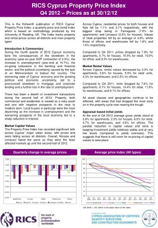 RICS Cyprus Property Price Index  Q4  201 2 – Prices as at 30/12/12