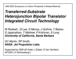 Transferred-Substrate Heterojunction Bipolar Transistor