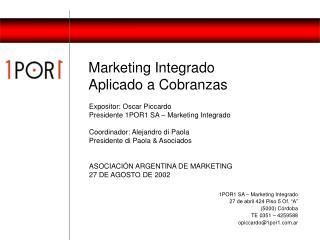 Marketing Integrado  Aplicado a Cobranzas