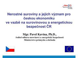 Mgr. Pavel Kavina, Ph.D.,  ředitel odboru surovinové a energetické bezpečnosti
