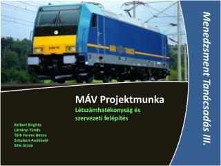 MÁV Projektmunka Létszámhatékonyság és szervezeti felépítés