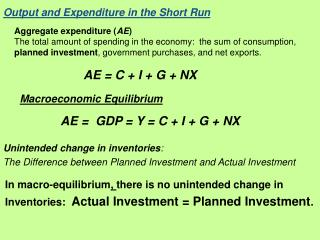 Output and Expenditure in the Short Run