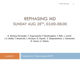 Rephasing  MD  Sunday Aug 28 th , 02:00-08:00