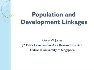Population and Development Linkages