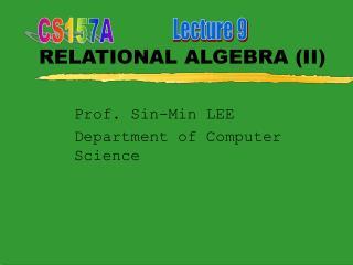 RELATIONAL ALGEBRA II