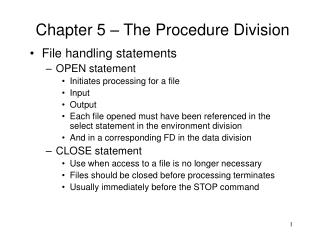 Chapter 5 – The Procedure Division