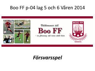 Boo FF p-04 lag 5 och 6 Våren 2014