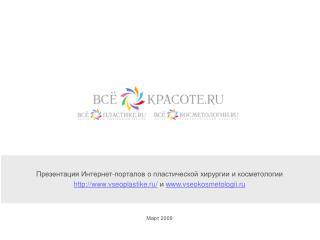 Презентация Интернет - порталов о пластической хирургии и косметологии