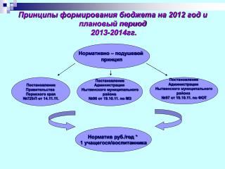 Принципы формирования бюджета на 2012 год и плановый период  2013-2014гг.