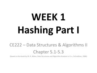 WEEK 1  Hashing Part I