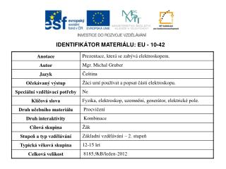 IDENTIFIKÁTOR MATERIÁLU: EU - 10-42