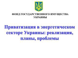 Приватизация в энергетическом секторе Украины: реализация, планы, проблемы