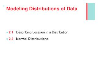Modeling Distributions of Data