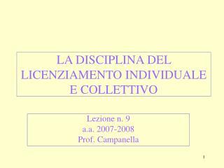 LA DISCIPLINA DEL LICENZIAMENTO INDIVIDUALE E COLLETTIVO
